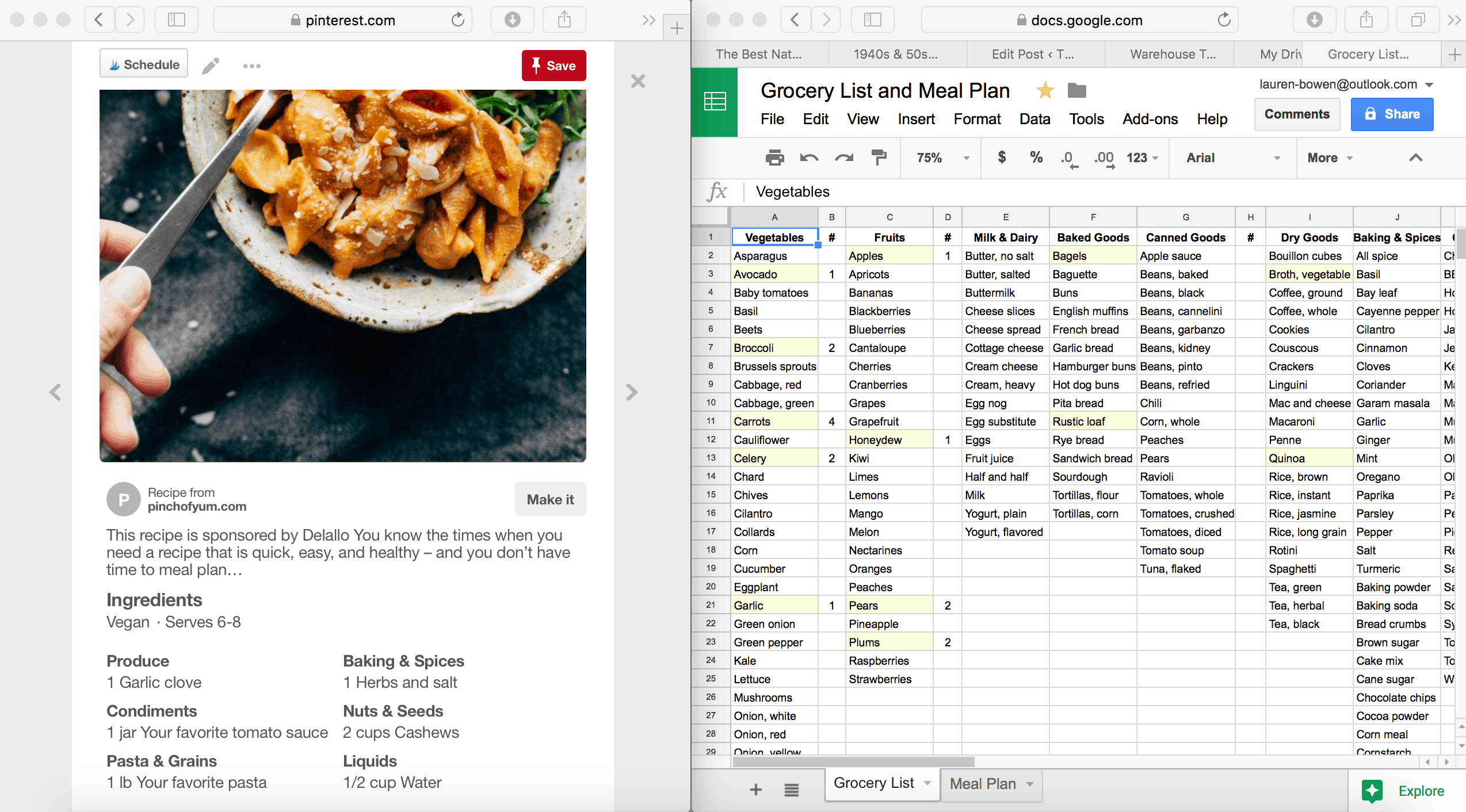 how i use google sheets for grocery shopping and meal planning
