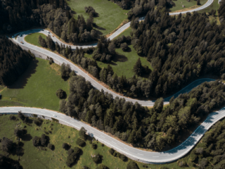 road winding through hills and trees